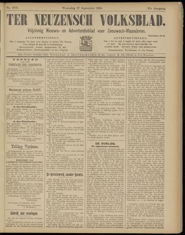 Ter Neuzensch Volksblad. Vrijzinnig nieuws- en advertentieblad voor Zeeuwsch- Vlaanderen / Zeeuwsch Nieuwsblad. Nieuws- en advertentieblad voor Zeeland 1916-09-27