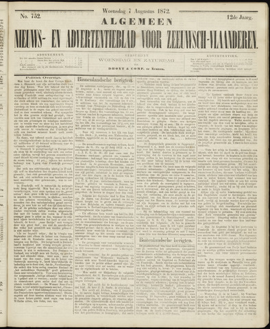 Ter Neuzensche Courant. Algemeen Nieuws- en Advertentieblad voor Zeeuwsch-Vlaanderen / Neuzensche Courant ... (idem) / (Algemeen) nieuws en advertentieblad voor Zeeuwsch-Vlaanderen 1872-08-07