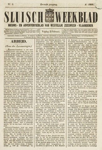 Sluisch Weekblad. Nieuws- en advertentieblad voor Westelijk Zeeuwsch-Vlaanderen 1866-02-02