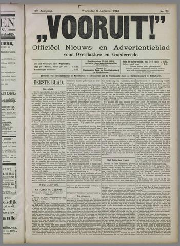"""""""Vooruit!""""Officieel Nieuws- en Advertentieblad voor Overflakkee en Goedereede 1913-08-06"""