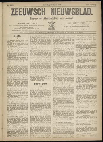 Ter Neuzensch Volksblad. Vrijzinnig nieuws- en advertentieblad voor Zeeuwsch- Vlaanderen / Zeeuwsch Nieuwsblad. Nieuws- en advertentieblad voor Zeeland 1918-04-20