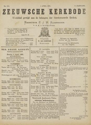 Zeeuwsche kerkbode, weekblad gewijd aan de belangen der gereformeerde kerken/ Zeeuwsch kerkblad 1891-04-04