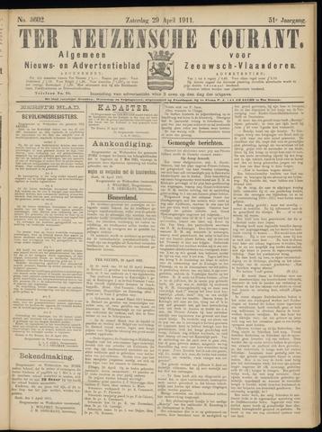 Ter Neuzensche Courant. Algemeen Nieuws- en Advertentieblad voor Zeeuwsch-Vlaanderen / Neuzensche Courant ... (idem) / (Algemeen) nieuws en advertentieblad voor Zeeuwsch-Vlaanderen 1911-04-29
