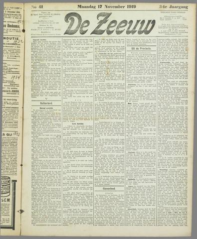 De Zeeuw. Christelijk-historisch nieuwsblad voor Zeeland 1919-11-17