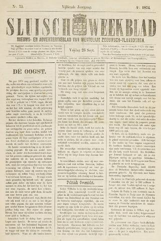 Sluisch Weekblad. Nieuws- en advertentieblad voor Westelijk Zeeuwsch-Vlaanderen 1874-09-25
