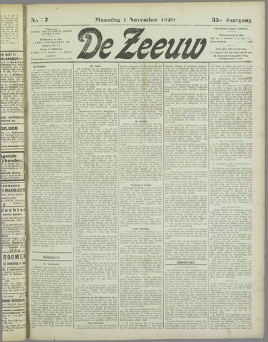 De Zeeuw. Christelijk-historisch nieuwsblad voor Zeeland 1920-11-01