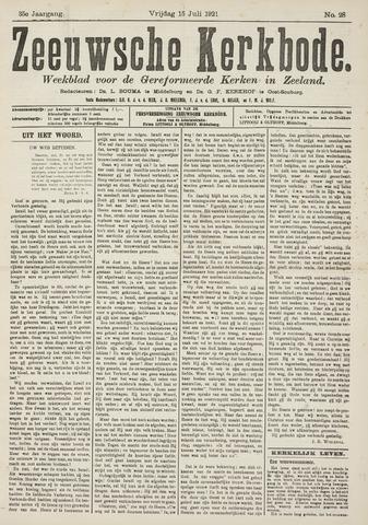 Zeeuwsche kerkbode, weekblad gewijd aan de belangen der gereformeerde kerken/ Zeeuwsch kerkblad 1921-07-15