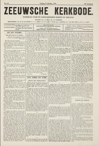 Zeeuwsche kerkbode, weekblad gewijd aan de belangen der gereformeerde kerken/ Zeeuwsch kerkblad 1939-10-27