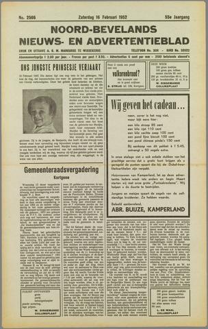 Noord-Bevelands Nieuws- en advertentieblad 1952-02-16