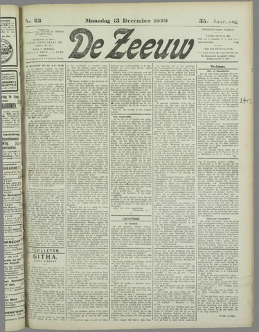 De Zeeuw. Christelijk-historisch nieuwsblad voor Zeeland 1920-12-13
