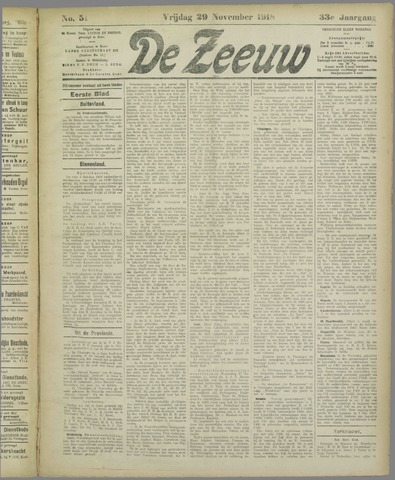 De Zeeuw. Christelijk-historisch nieuwsblad voor Zeeland 1918-11-29