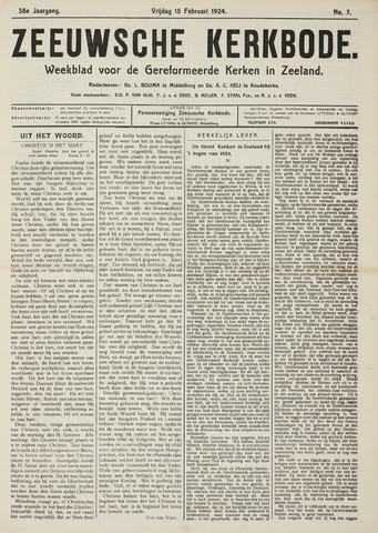 Zeeuwsche kerkbode, weekblad gewijd aan de belangen der gereformeerde kerken/ Zeeuwsch kerkblad 1924-02-15
