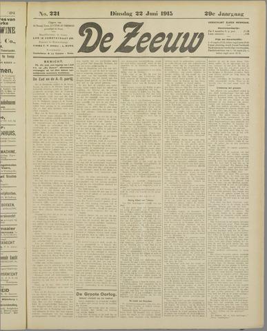 De Zeeuw. Christelijk-historisch nieuwsblad voor Zeeland 1915-06-22