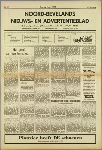 Noord-Bevelands Nieuws- en advertentieblad 1958-04-05