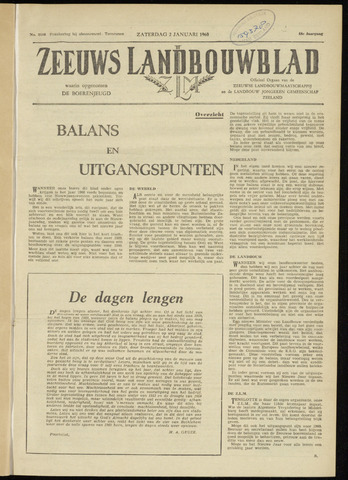Zeeuwsch landbouwblad ... ZLM land- en tuinbouwblad 1960-01-02