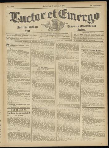 Luctor et Emergo. Antirevolutionair nieuws- en advertentieblad voor Zeeland / Zeeuwsch-Vlaanderen. Orgaan ter verspreiding van de christelijke beginselen in Zeeuwsch-Vlaanderen 1913-01-11