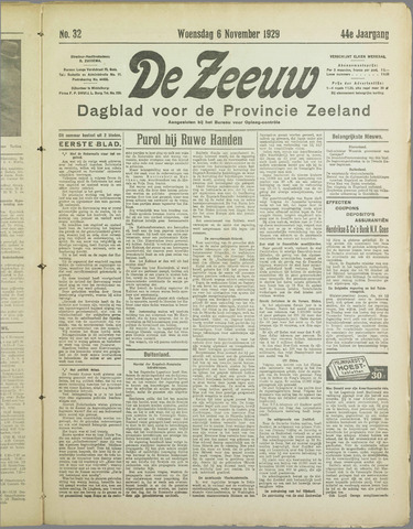 De Zeeuw. Christelijk-historisch nieuwsblad voor Zeeland 1929-11-06