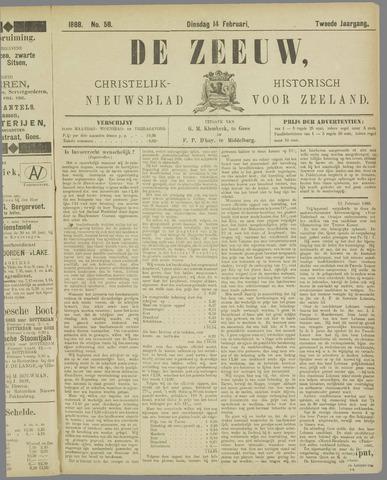 De Zeeuw. Christelijk-historisch nieuwsblad voor Zeeland 1888-02-14