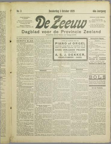 De Zeeuw. Christelijk-historisch nieuwsblad voor Zeeland 1929-10-03