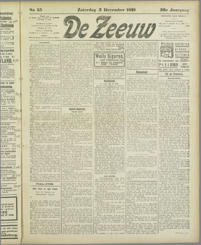 De Zeeuw. Christelijk-historisch nieuwsblad voor Zeeland 1921-12-03