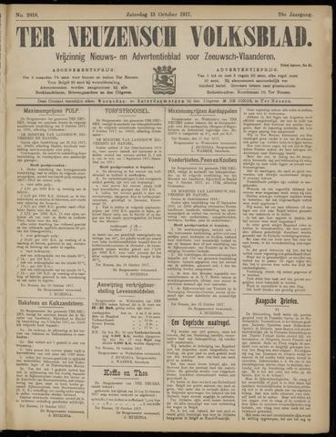 Ter Neuzensch Volksblad. Vrijzinnig nieuws- en advertentieblad voor Zeeuwsch- Vlaanderen / Zeeuwsch Nieuwsblad. Nieuws- en advertentieblad voor Zeeland 1917-10-13