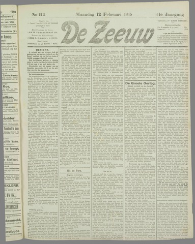 De Zeeuw. Christelijk-historisch nieuwsblad voor Zeeland 1917-02-12