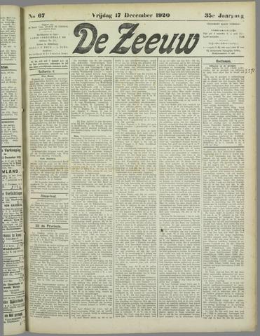 De Zeeuw. Christelijk-historisch nieuwsblad voor Zeeland 1920-12-17