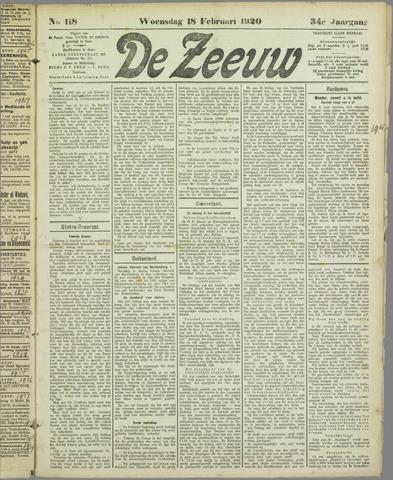 De Zeeuw. Christelijk-historisch nieuwsblad voor Zeeland 1920-02-18