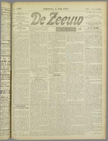 De Zeeuw. Christelijk-historisch nieuwsblad voor Zeeland 1921-07-02