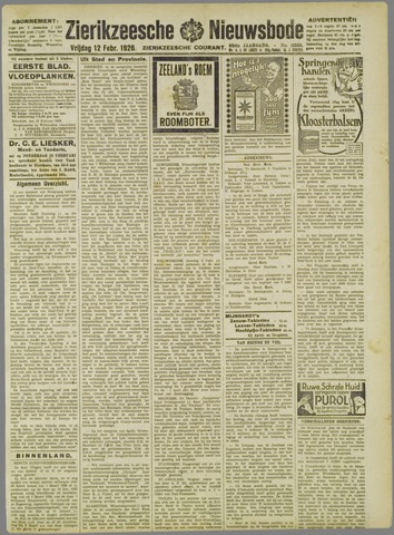 Zierikzeesche Nieuwsbode 1926-02-12