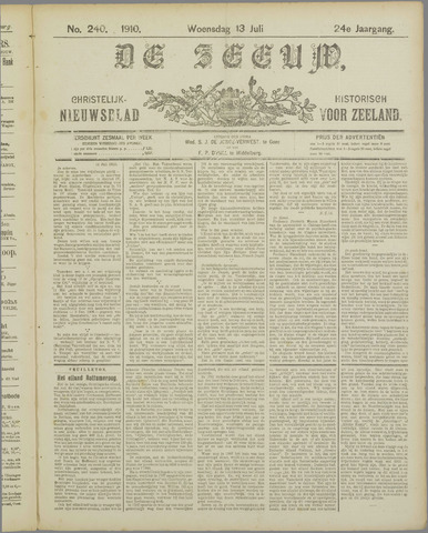 De Zeeuw. Christelijk-historisch nieuwsblad voor Zeeland 1910-07-13