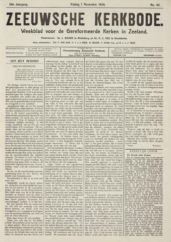 Zeeuwsche kerkbode, weekblad gewijd aan de belangen der gereformeerde kerken/ Zeeuwsch kerkblad 1924-11-07