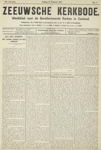 Zeeuwsche kerkbode, weekblad gewijd aan de belangen der gereformeerde kerken/ Zeeuwsch kerkblad 1927-02-18