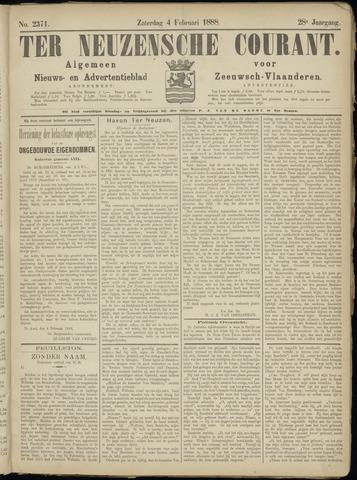 Ter Neuzensche Courant. Algemeen Nieuws- en Advertentieblad voor Zeeuwsch-Vlaanderen / Neuzensche Courant ... (idem) / (Algemeen) nieuws en advertentieblad voor Zeeuwsch-Vlaanderen 1888-02-04