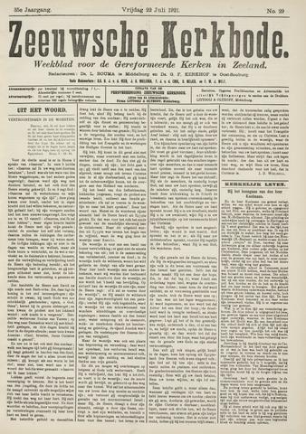 Zeeuwsche kerkbode, weekblad gewijd aan de belangen der gereformeerde kerken/ Zeeuwsch kerkblad 1921-07-22