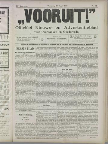 """""""Vooruit!""""Officieel Nieuws- en Advertentieblad voor Overflakkee en Goedereede 1911-03-15"""