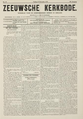 Zeeuwsche kerkbode, weekblad gewijd aan de belangen der gereformeerde kerken/ Zeeuwsch kerkblad 1935-11-22