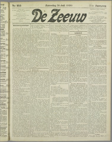 De Zeeuw. Christelijk-historisch nieuwsblad voor Zeeland 1920-07-31