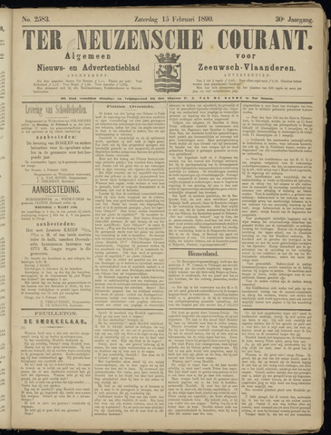 Ter Neuzensche Courant. Algemeen Nieuws- en Advertentieblad voor Zeeuwsch-Vlaanderen / Neuzensche Courant ... (idem) / (Algemeen) nieuws en advertentieblad voor Zeeuwsch-Vlaanderen 1890-02-15