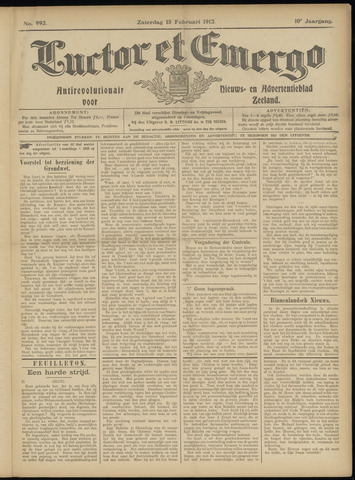 Luctor et Emergo. Antirevolutionair nieuws- en advertentieblad voor Zeeland / Zeeuwsch-Vlaanderen. Orgaan ter verspreiding van de christelijke beginselen in Zeeuwsch-Vlaanderen 1913-02-15