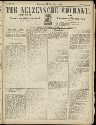 Ter Neuzensche Courant. Algemeen Nieuws- en Advertentieblad voor Zeeuwsch-Vlaanderen / Neuzensche Courant ... (idem) / (Algemeen) nieuws en advertentieblad voor Zeeuwsch-Vlaanderen 1890-12-17