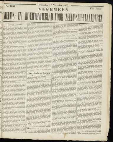 Ter Neuzensche Courant. Algemeen Nieuws- en Advertentieblad voor Zeeuwsch-Vlaanderen / Neuzensche Courant ... (idem) / (Algemeen) nieuws en advertentieblad voor Zeeuwsch-Vlaanderen 1875-11-17