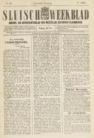 Sluisch Weekblad. Nieuws- en advertentieblad voor Westelijk Zeeuwsch-Vlaanderen 1873-11-21