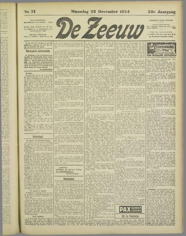 De Zeeuw. Christelijk-historisch nieuwsblad voor Zeeland 1924-12-22