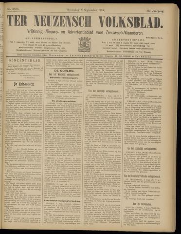 Ter Neuzensch Volksblad. Vrijzinnig nieuws- en advertentieblad voor Zeeuwsch- Vlaanderen / Zeeuwsch Nieuwsblad. Nieuws- en advertentieblad voor Zeeland 1915-09-08