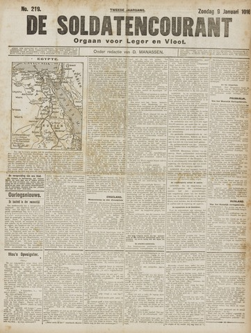 De Soldatencourant. Orgaan voor Leger en Vloot 1916-01-09