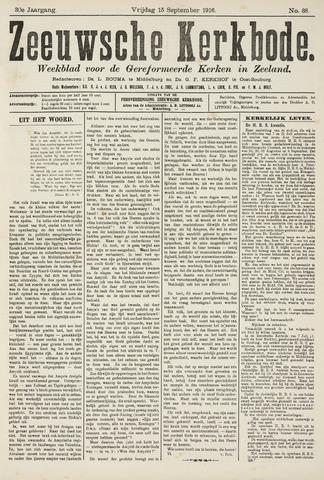 Zeeuwsche kerkbode, weekblad gewijd aan de belangen der gereformeerde kerken/ Zeeuwsch kerkblad 1916-09-15