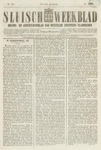 Sluisch Weekblad. Nieuws- en advertentieblad voor Westelijk Zeeuwsch-Vlaanderen 1866-09-14