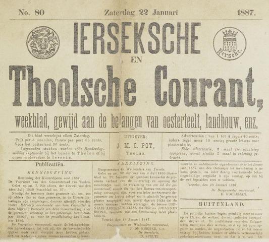 Ierseksche en Thoolsche Courant 1887-01-22