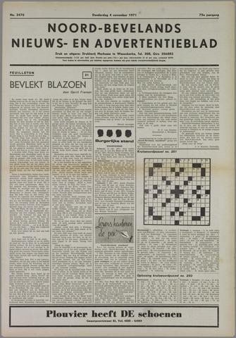 Noord-Bevelands Nieuws- en advertentieblad 1971-11-04